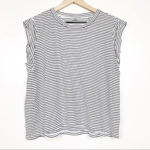 Vince Striped Tee Short Sleeve Black White Top L